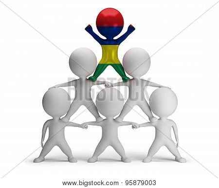 3d small people standing on each other in the form of a pyramid with the top leader Mauritius