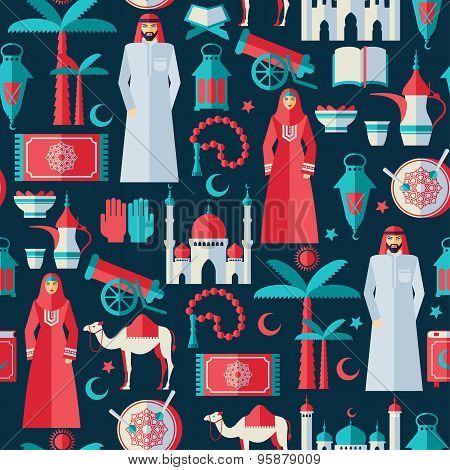 Ramadan Kareem Icons Set Of Arabian Flat Design.