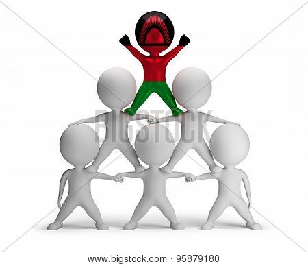 3d small people standing on each other in the form of a pyramid with the top leader Malawi