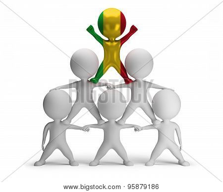 3d small people standing on each other in the form of a pyramid with the top leader Mali