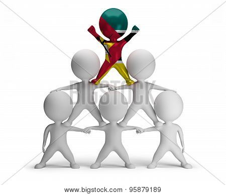 3d small people standing on each other in the form of a pyramid with the top leader Mozambique