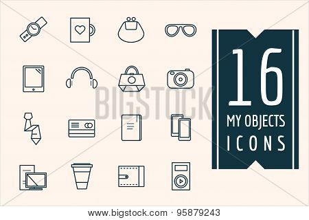 Personal objects vector icons set. Mobile, electric and technic symbols. Stocks design elements