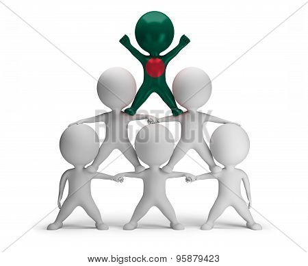 3d small people standing on each other in the form of a pyramid with the top leader Bangladesh