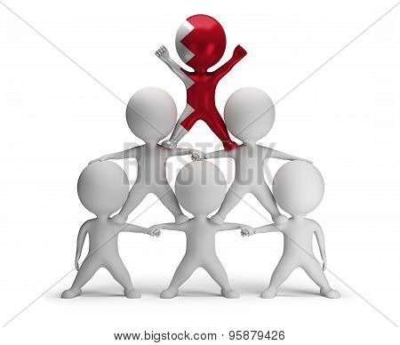 3d small people standing on each other in the form of a pyramid with the top leader Bahrain