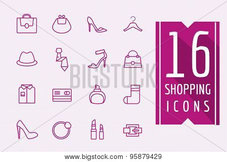 Fashion e-commerce vector icons set. Shopping symbols. Interface elements Stock illustration.