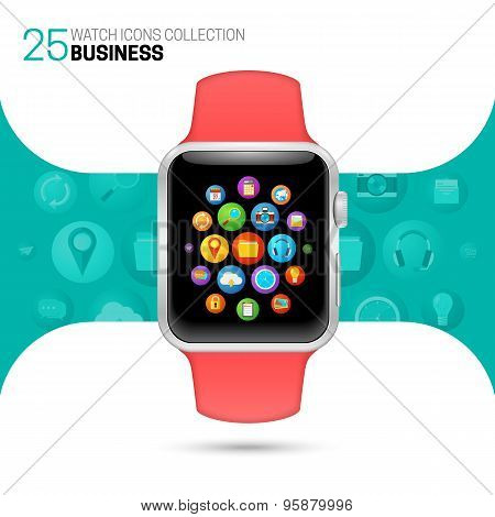 Smart watch with pink wristband.