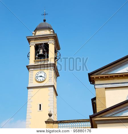 Ancien Clock Tower In Italy Europe Old  Stone And Bell