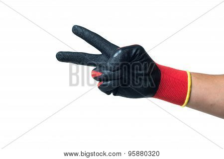 Constructor hand in red rubber gloves showing numer two. isolated on white backround