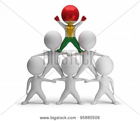 3d small people standing on each other in the form of a pyramid with the top leader Kurdistan