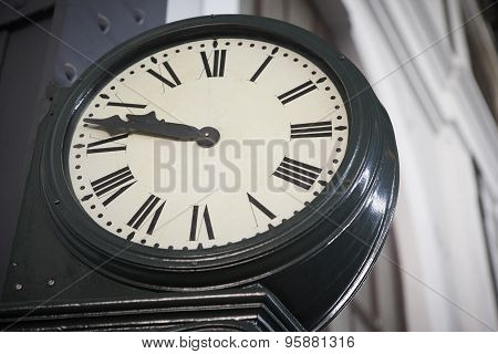 Aged Railway Station Clock With Roman Numerals