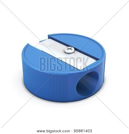 Blue Pencil Sharpener On A White