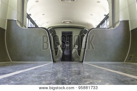 Retro Wagon Train Interior In Green Tone
