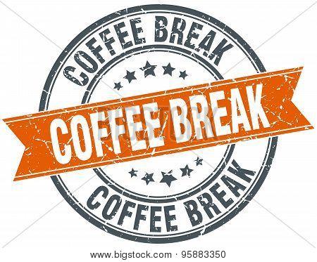 Coffee Break Round Orange Grungy Vintage Isolated Stamp