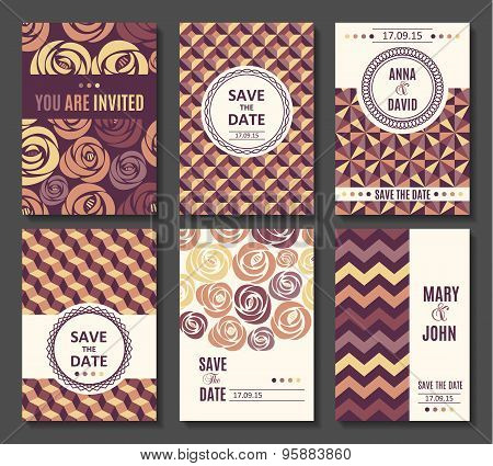 Set Of Vector Card Templates Invitation.