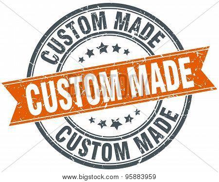 Custom Made Round Orange Grungy Vintage Isolated Stamp