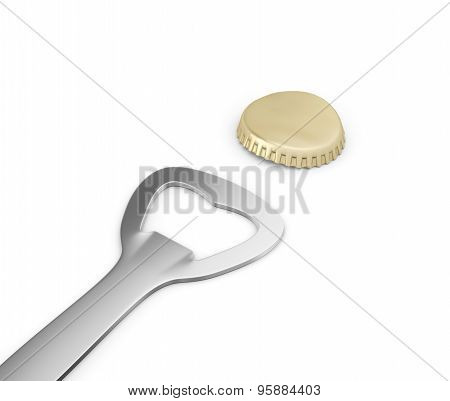 Bottle Opener And Cap , Isolated On White
