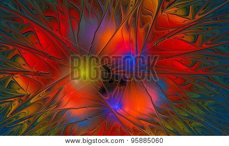 Fractal  Of An Abstract Colorful Flower Mosaic