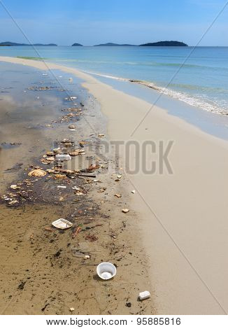 Sihanoukville, Cambodia - November 17, 2014 Garbage Pollution On The Beach