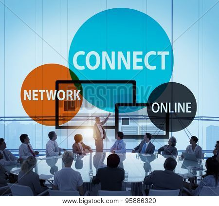 Connect Network Integrated Online Web Concept