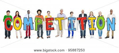 Group of People Standing Holding Competition Letter