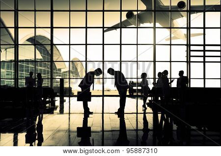 International Airport Business Travel Bow Down Concept