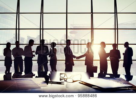 Business People Connection Interaction Handshake Agreement Greeting Concept