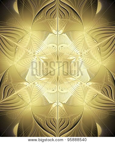 Fractal  Background With Shiny Gold Ornaments