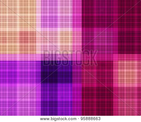 Fractal  Of A Bright Plaid Pattern Seamless