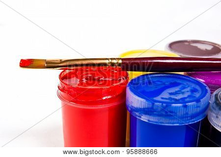 Bottles With Gouache Paints And Brush For Artistic Paintings