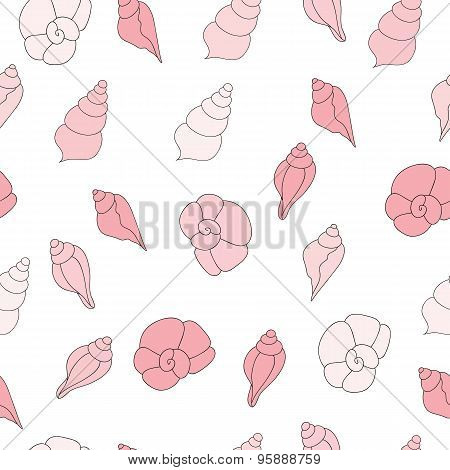 Seamless vector pattern with pink sea shells