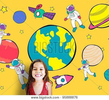 Planets Travel Dream Imagination Playful Space Universe Concept