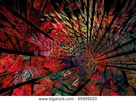 Abstract Fractal Red Background