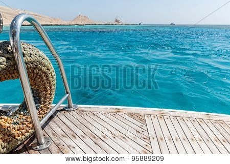 Close-up Of A Wooden Deck End Of A Yacht