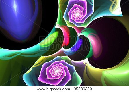 Fractal Background Bright Colors Of Spiral Night