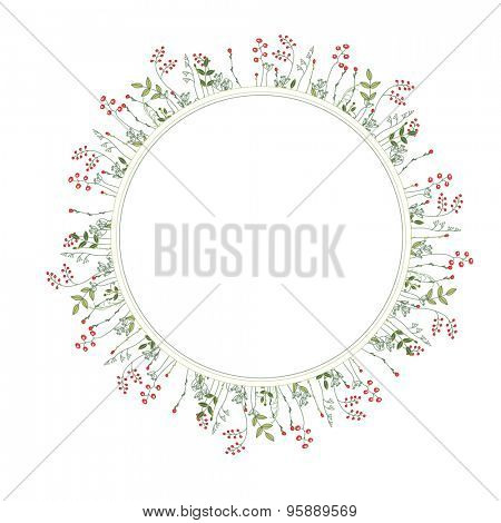 Detailed contour modest wreath  with forest herbs and wild flowers, berries isolated on white.