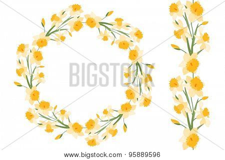 Detailed contour wreath and seamless pattern brush with narcissus isolated on white. Endless horizontal texture for your design