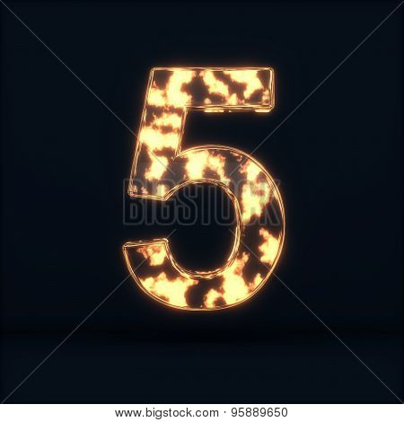 Glass Glowing Fire Digit Five Symbo