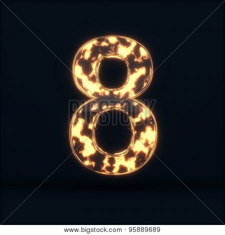 Glass Glowing Fire Digit Eight Symbo