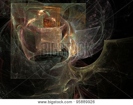 Amber Abstract Fractal Quadrate