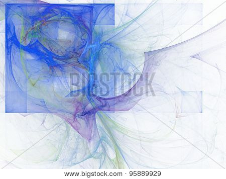 Blue Abstract Fractal Quadrate