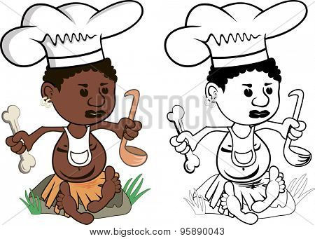 Cartoon drawing of an african chef cook with bone and soup ladle