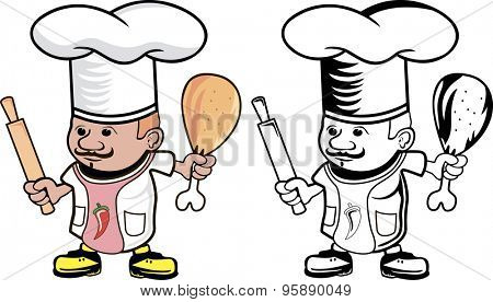 Cartoon drawing of a chef cook with rolling pin and chicken leg