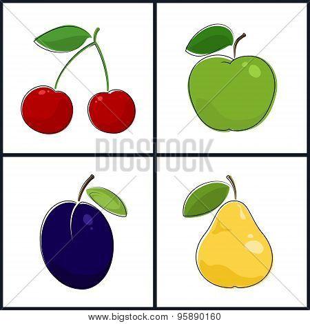 Cherry, Apple, Plum, Pear