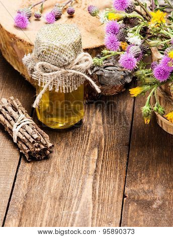 Fresh Raw Honey And Wild Flowers