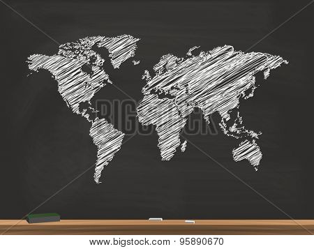 World Map Chalkboard Illustration