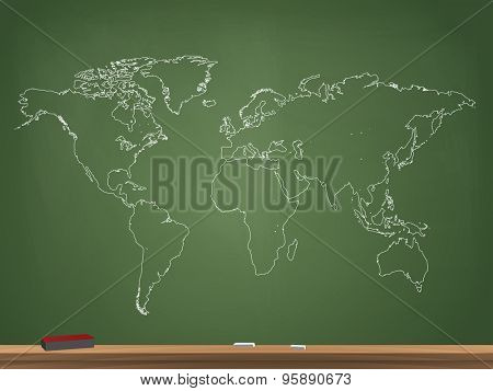 Realistic Chalkboard World Map Vector Illustration