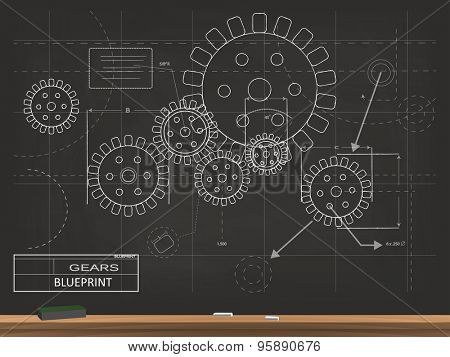 Gears Blueprint Chalkboard Vector Illustration