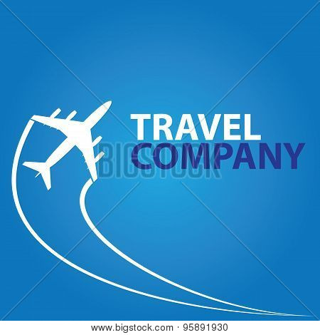Vector Modern Minimalistic Airplane Travel Logo On Blue Background