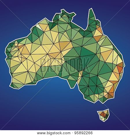 Low Poly Map Of Australia Vector Design