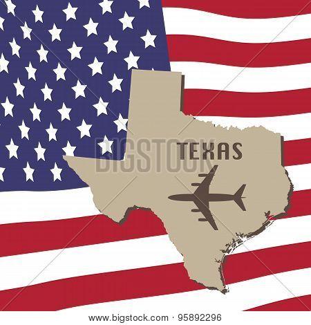 Texas Air Travel Vector Concept